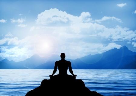 16694354 - stock illustration of meditation on a lake