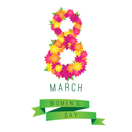 70970487 - 8 march womens day greeting card template with flowers and ribbon.