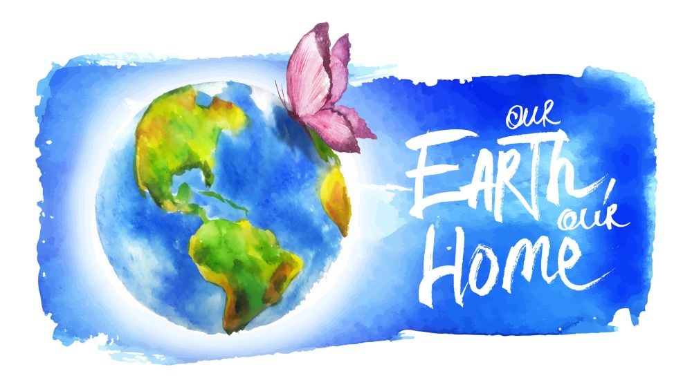 38798417 - painted in watercolor banner for earth day.