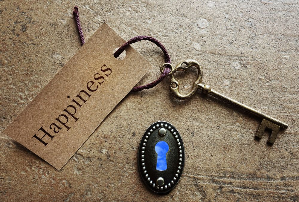 54277483 - lock and gold key with happiness label