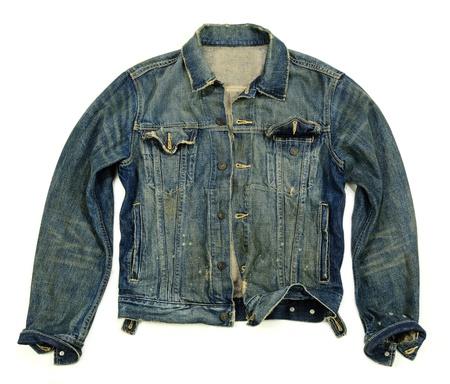 10613565 - fashionable heavy wash denim jacket unbuttoned over white