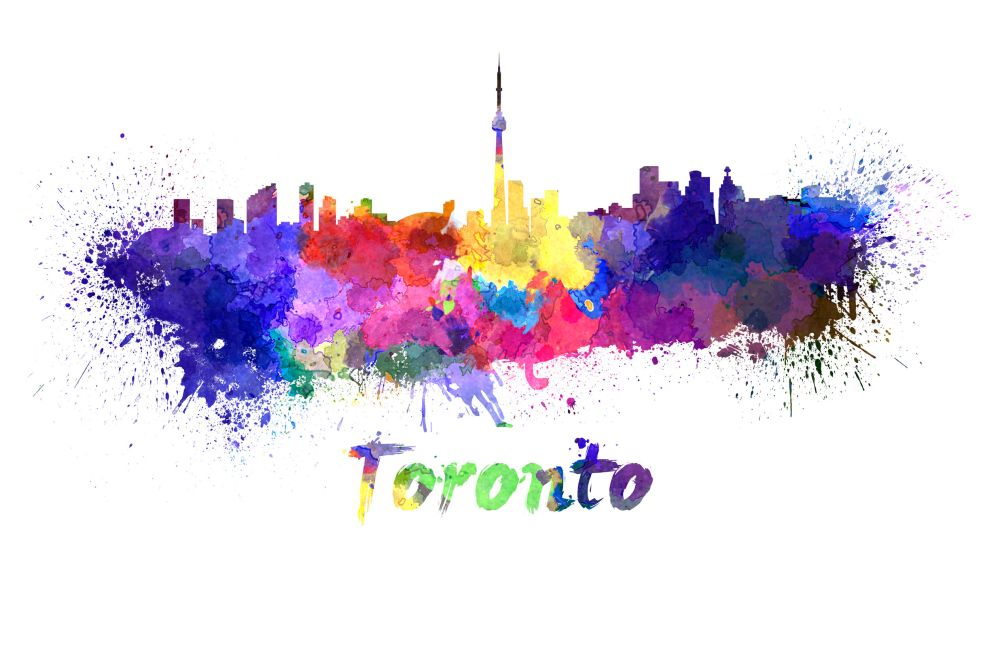 28274741 - toronto skyline in watercolor splatters with clipping path